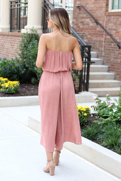Model wearing Blush Strapless Culotte Jumpsuit Back View