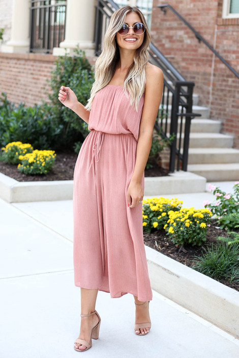 Blush - Strapless Culotte Jumpsuit Side View