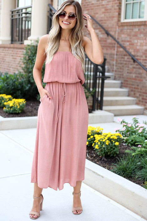 Model wearing Blush Strapless Culotte Jumpsuit Front View