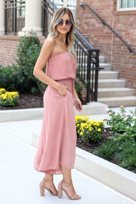 Model wearing Blush Strapless Culotte Jumpsuit Side View