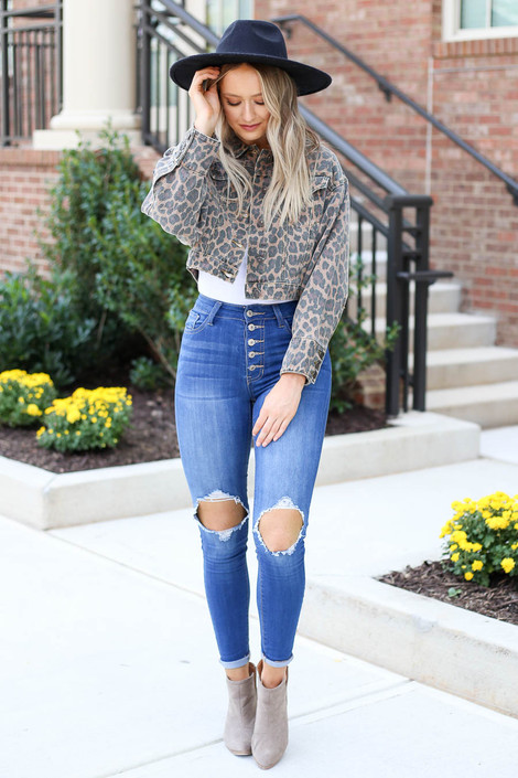 Leopard - Cropped Denim Jacket Full View