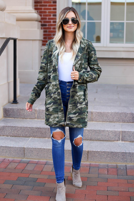 Camo - Lightweight Oversized Parka Full View