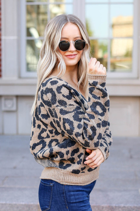 Leopard - Wrap Open Back Sweater Side View