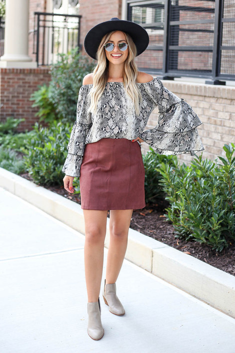 Marsala - Exposed Seam Mini Skirt Full View