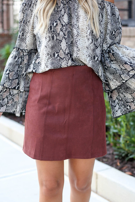 Marsala - Exposed Seam Mini Skirt Detail View