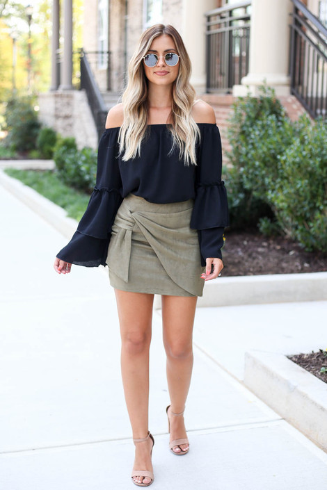 Model wearing Olive Faux Suede Wrap Skirt Full View