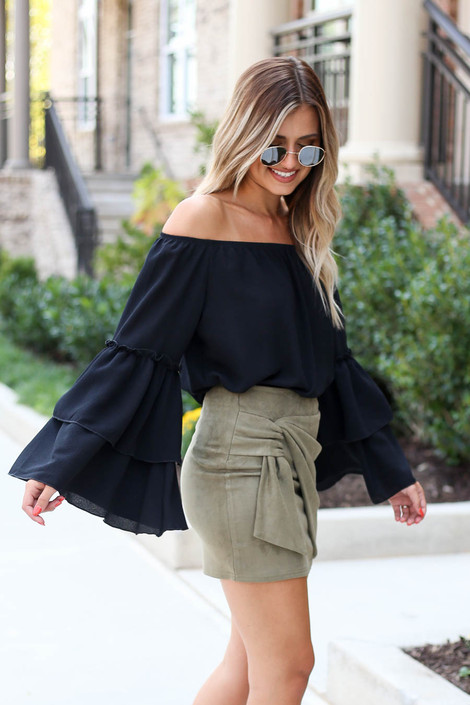 Model wearing Olive Faux Suede Wrap Skirt Side View