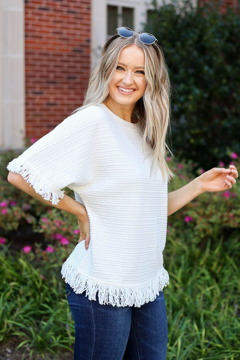 White - Fringe Textured Top Side View