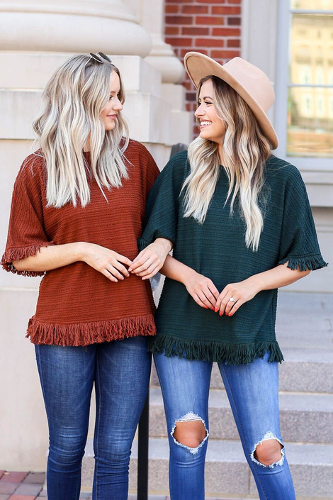 Green - and Rust Textured Fringe Tops