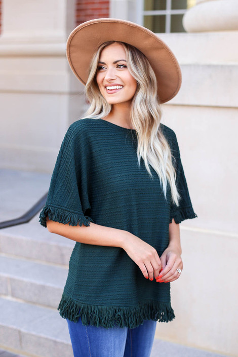 Model wearing Green Fringe Textured Top Side View