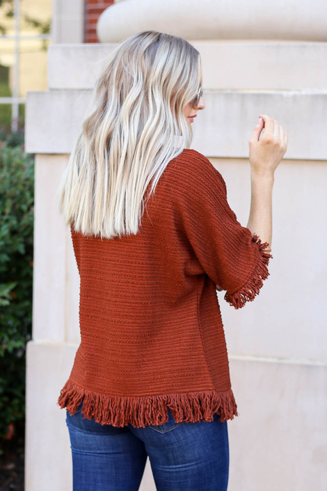 Rust - Fringe Textured Top Back View