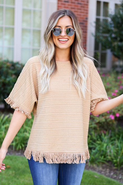 Model wearing Taupe Fringe Textured Top