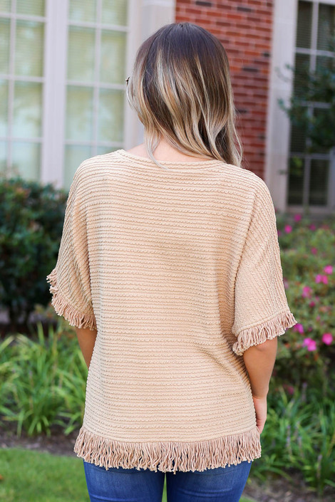 Model wearing Taupe Fringe Textured Top Back View