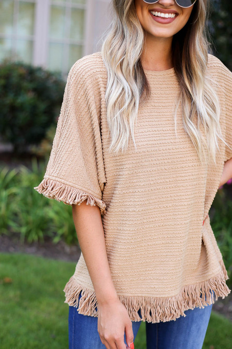 Taupe - Fringe Textured Top