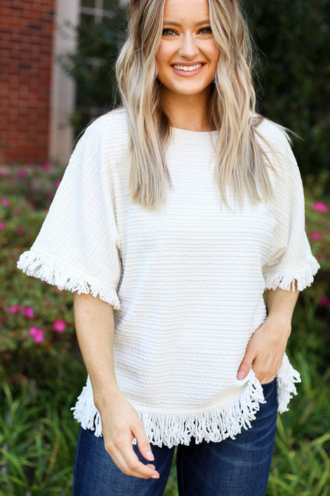 Model wearing White Fringe Textured Top