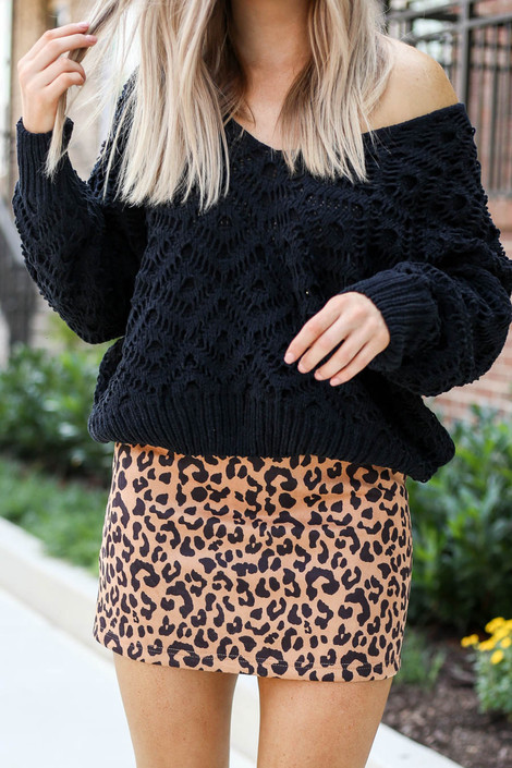 Mocha - Faux Suede Leopard Mini Skirt Detail View