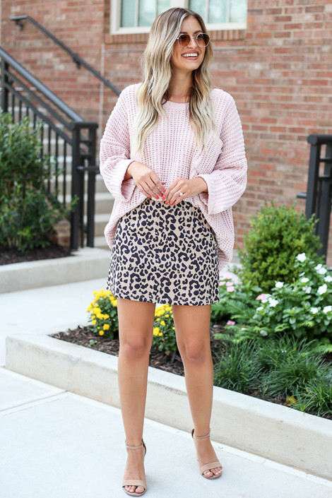 Taupe - Faux Suede Leopard Mini Skirt