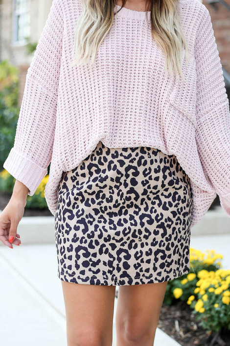 Taupe - Faux Suede Leopard Mini Skirt Detail View