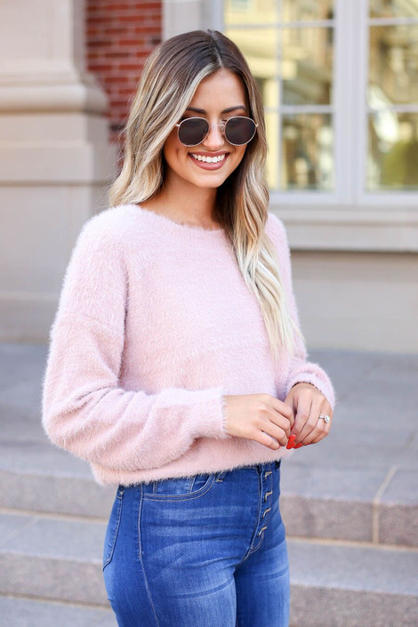 Blush - Fuzzy Knit Sweater Side View