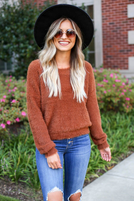 Rust - Fuzzy Knit Sweater with Distressed Jeans