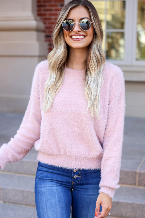 Blush - Fuzzy Knit Sweater