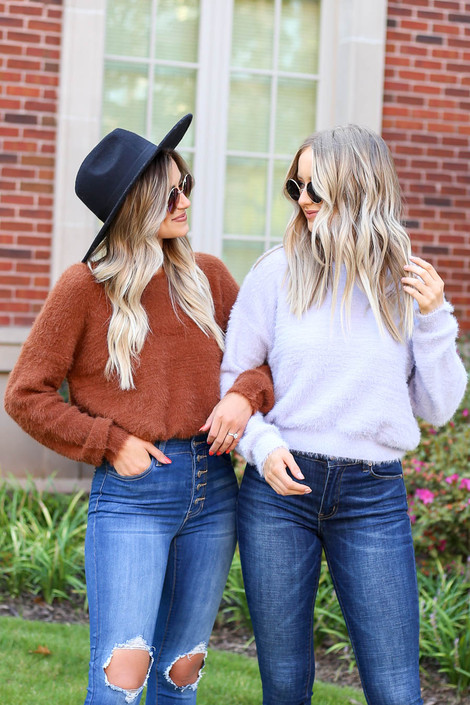 Models wearing Rust and Purple Fuzzy Knit Sweaters
