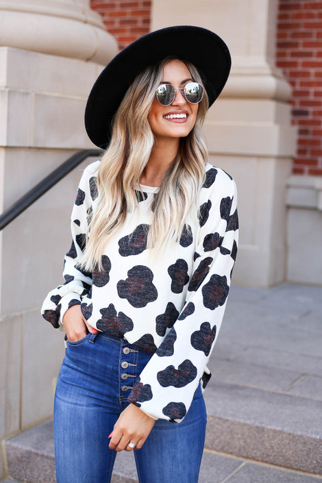 Ivory - Leopard Print Knit Top Tucked In