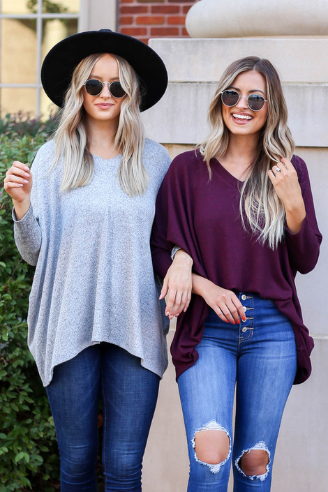 Models wearing Burgundy and Heather Grey Soft Knit Tops