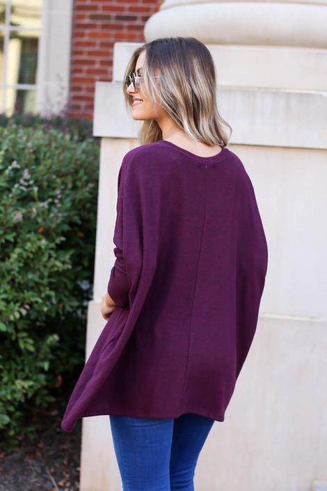 Model wearing Burgundy Soft Knit Top Back View