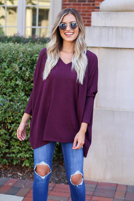 Model wearing Burgundy Soft Knit Top Front View