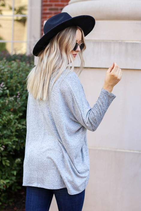 Heather Grey - Soft Knit Top Back View