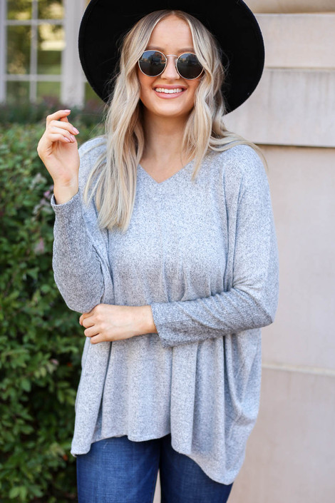 Model wearing Heather Grey Soft Knit Top Front View