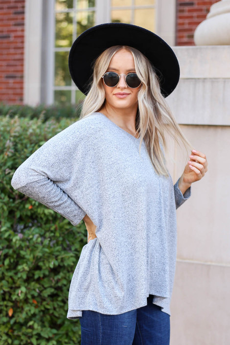 Model wearing Heather Grey Soft Knit Top Side View