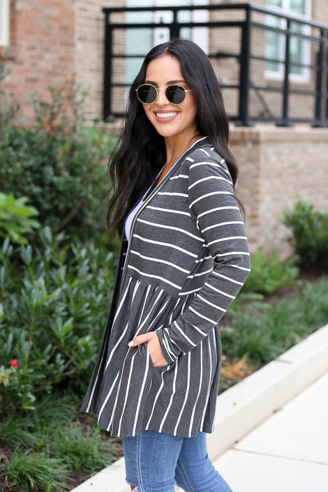 Charcoal - Striped Babydoll Cardigan