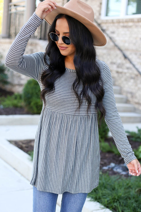 Model wearing Charcoal Striped Babydoll Top Front View