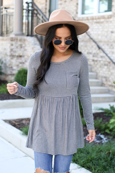 Model wearing Charcoal Striped Babydoll Top