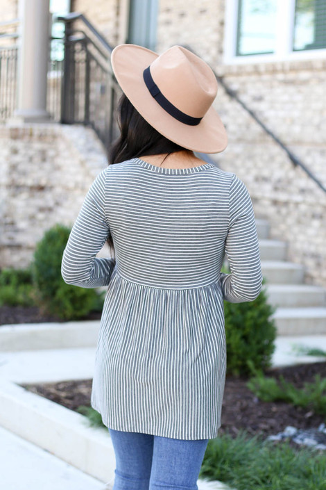 Charcoal - Striped Babydoll Top Back View