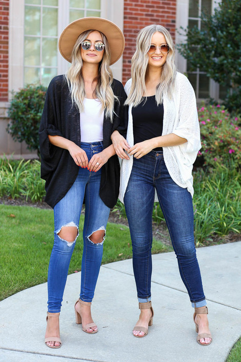 Models wearing Black and White Lightweight Knit Cardigans