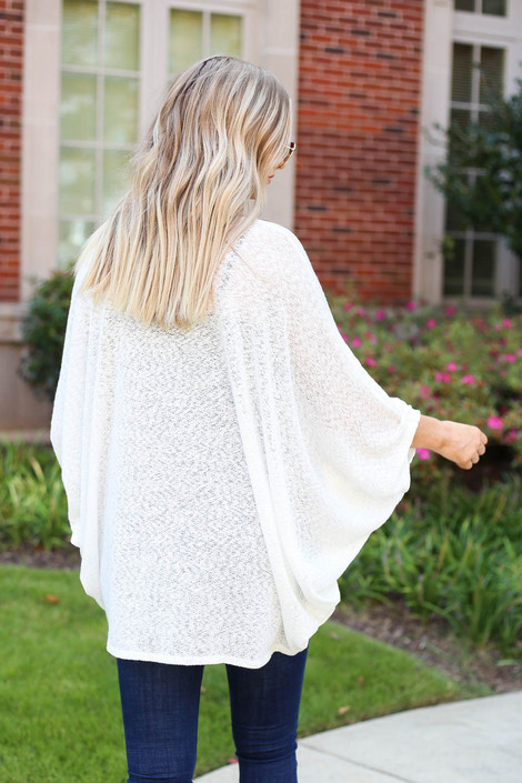 White - Lightweight Knit Cardigan Back View