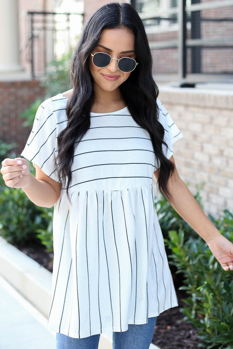Black - Cross Back Striped Babydoll Top