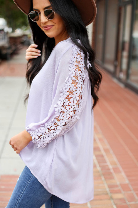 Lilac - Crochet Sleeve Top Detail View