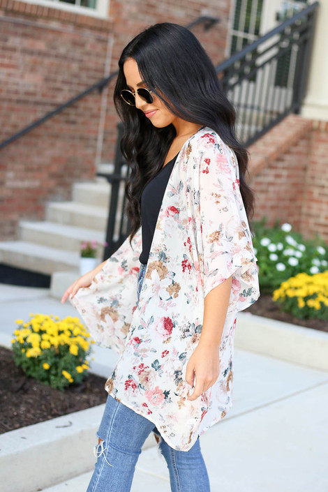 Model wearing Ivory Floral Kimono Side View