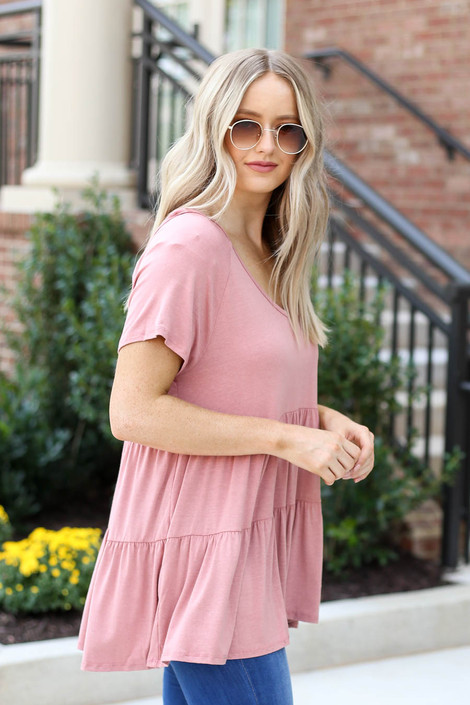 Model wearing Blush Tiered Babydoll Top