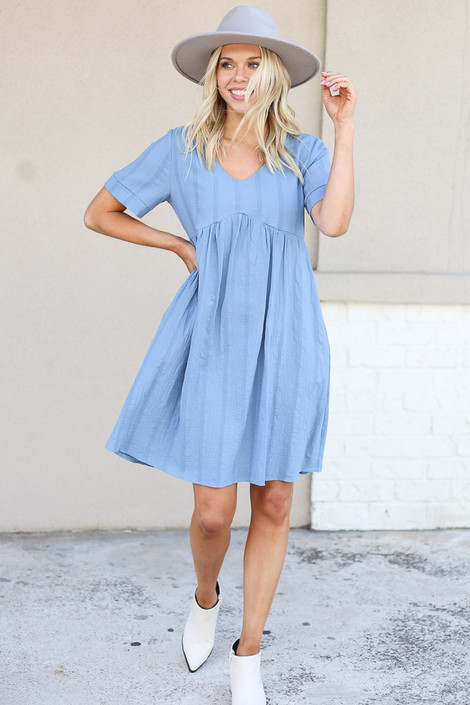 Blue - Textured Babydoll Dress Full View