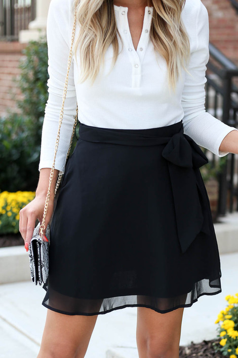 Black - Tie Waist Chiffon Mini Skirt Detail View