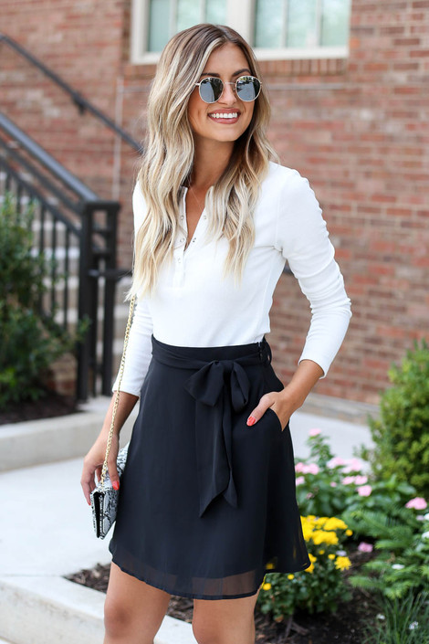 Black - Tie Waist Chiffon Mini Skirt