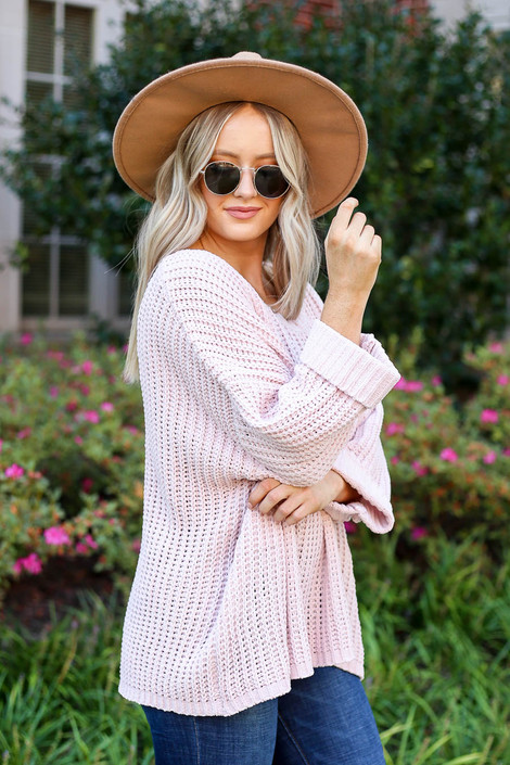 Blush - Oversized Chenille Sweater Side View