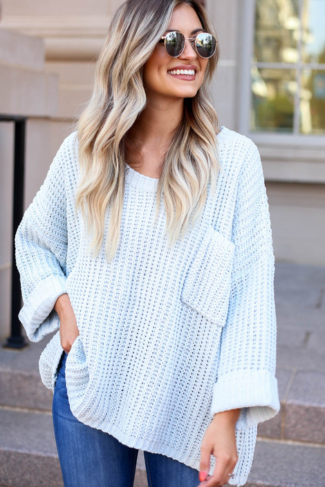 Mint - Oversized Chenille Sweater Side View
