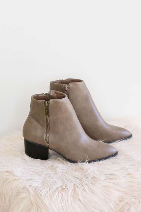 Miley Taupe Block Heel Booties on faux fur
