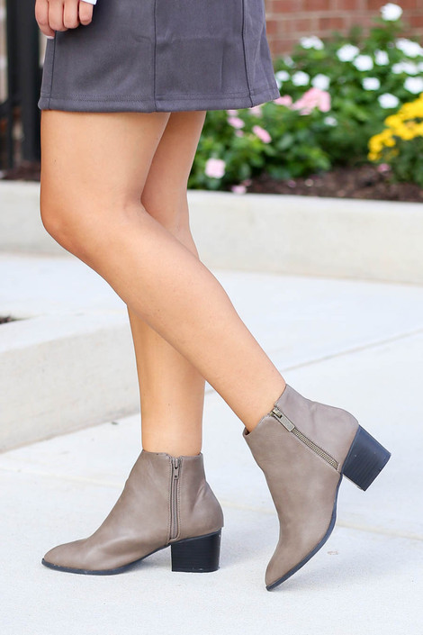 Taupe - Pointed Toe Block Heel Booties Side View